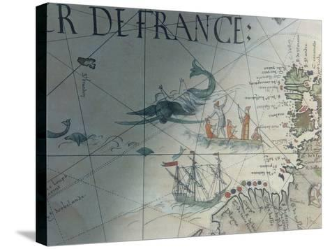 Facsmile of Whaling and Isle of Saint Brandon, Detail from a Portolan Map by Pierre Desceliers,…--Stretched Canvas Print