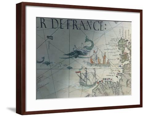 Facsmile of Whaling and Isle of Saint Brandon, Detail from a Portolan Map by Pierre Desceliers,…--Framed Art Print