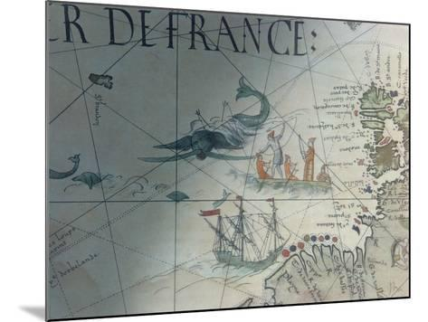 Facsmile of Whaling and Isle of Saint Brandon, Detail from a Portolan Map by Pierre Desceliers,…--Mounted Giclee Print