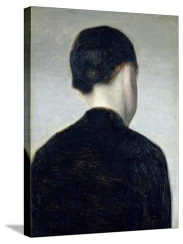 Seated Figure, Seen from Behind (Anna Hammershoi) 1884-Vilhelm Hammershoi-Stretched Canvas Print
