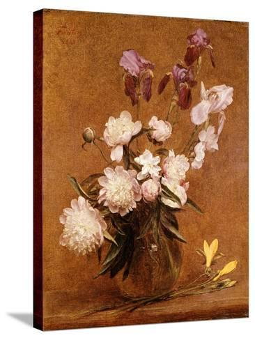 Bouquet of Peonies and Irises, 1883-Henri Fantin-Latour-Stretched Canvas Print