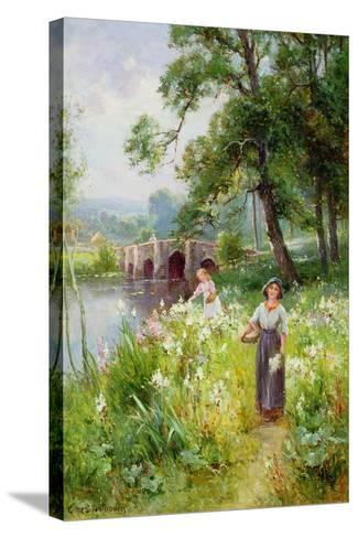 Picking Flowers by the River-Ernest Walbourn-Stretched Canvas Print