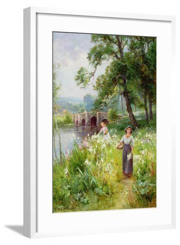 Picking Flowers by the River-Ernest Walbourn-Framed Art Print