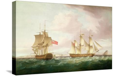 British Frigates Off Dover-Thomas Whitcombe-Stretched Canvas Print