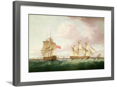British Frigates Off Dover-Thomas Whitcombe-Framed Art Print