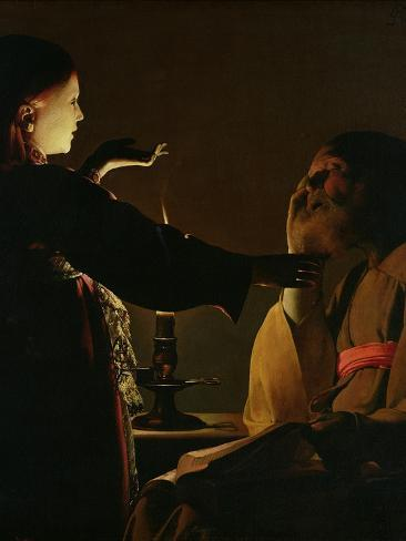 'The Appearance of the Angel to St. Joseph', also known as 'The Dream of St. Joseph', 1652-Georges de La Tour-Stretched Canvas Print