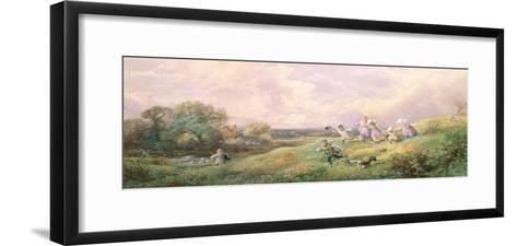 Children Running Down a Hill-Myles Birket Foster-Framed Art Print