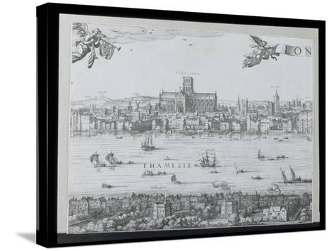 Panorama of London and the Thames, Part Two Showing St. Paul's Cathedral and the Globe Theatre,…-Nicolaes Jansz Visscher-Stretched Canvas Print