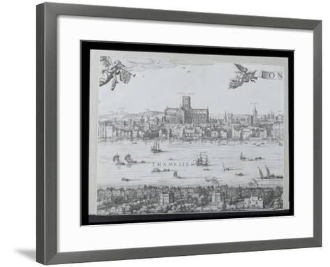 Panorama of London and the Thames, Part Two Showing St. Paul's Cathedral and the Globe Theatre,…-Nicolaes Jansz Visscher-Framed Art Print