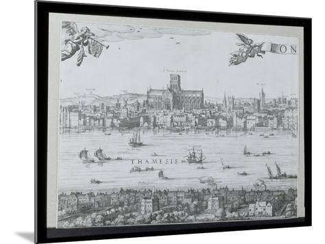 Panorama of London and the Thames, Part Two Showing St. Paul's Cathedral and the Globe Theatre,…-Nicolaes Jansz Visscher-Mounted Giclee Print