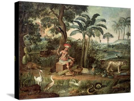 Native Indian in a Landscape with Animals-Jose Teofilo de Jesus-Stretched Canvas Print