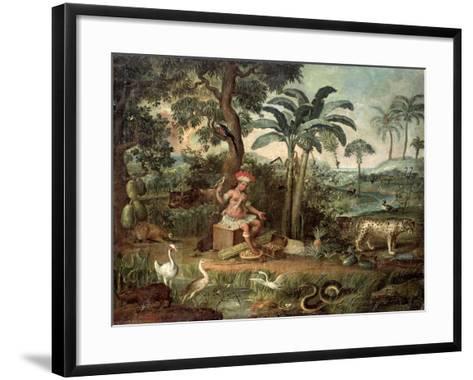 Native Indian in a Landscape with Animals-Jose Teofilo de Jesus-Framed Art Print