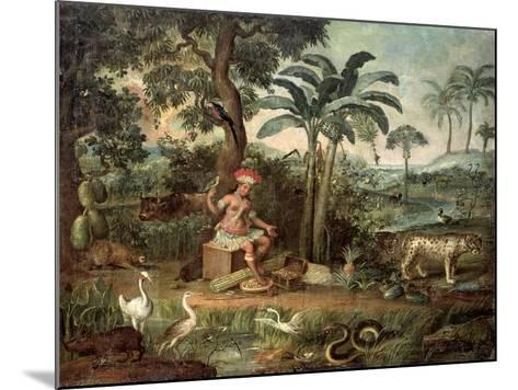 Native Indian in a Landscape with Animals-Jose Teofilo de Jesus-Mounted Giclee Print