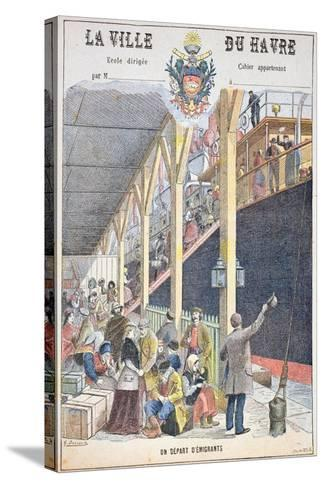 The Departure of Emigrants from Le Havre, Front Cover of a Schoolbook-G. Dascher-Stretched Canvas Print