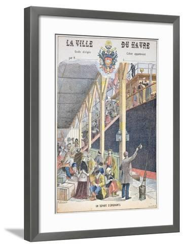 The Departure of Emigrants from Le Havre, Front Cover of a Schoolbook-G. Dascher-Framed Art Print