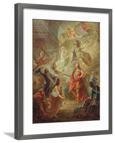 Louis Xvi (1754-93) Swearing Loyalty to the Constitution on the Altar of the Homeland-Nicolas Guy Brenet-Framed Art Print