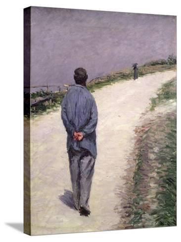 Pere Magloire on the Road to Saint-Clair, Etretat, 1884-Gustave Caillebotte-Stretched Canvas Print