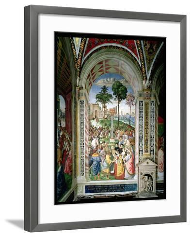 Aeneas Sylvius Piccolomini (1405-64) Presents Eleonora of Aragon to Frederick III (1415-93) on…-Bernardino di Betto Pinturicchio-Framed Art Print