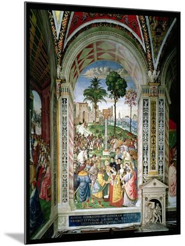 Aeneas Sylvius Piccolomini (1405-64) Presents Eleonora of Aragon to Frederick III (1415-93) on…-Bernardino di Betto Pinturicchio-Mounted Giclee Print