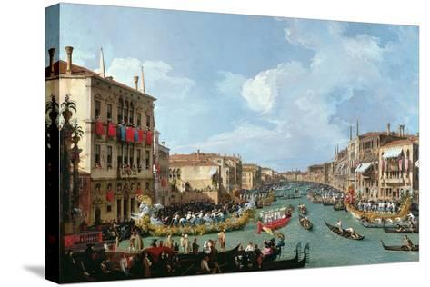 Regatta on the Grand Canal-Canaletto-Stretched Canvas Print