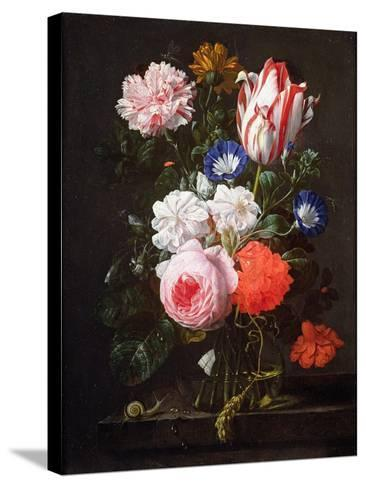 Still Life of Roses, a Carnation, Convolvulus and a Tulip in a Glass Vase-Nicolaes van Veerendael-Stretched Canvas Print