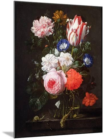 Still Life of Roses, a Carnation, Convolvulus and a Tulip in a Glass Vase-Nicolaes van Veerendael-Mounted Giclee Print