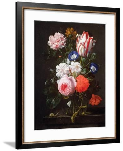 Still Life of Roses, a Carnation, Convolvulus and a Tulip in a Glass Vase-Nicolaes van Veerendael-Framed Art Print
