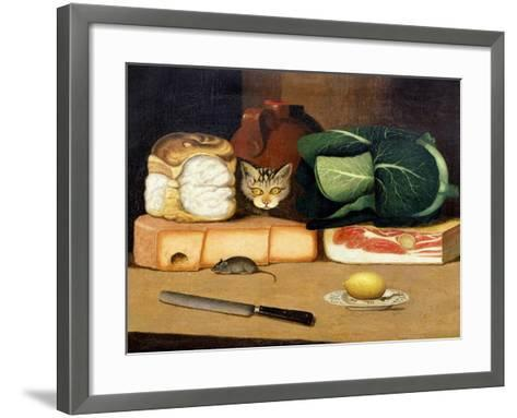Larder Still Life with a Cat Hunting a Mouse, C.1840--Framed Art Print