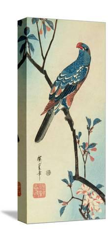 Parrot on a Branch-Ando Hiroshige-Stretched Canvas Print