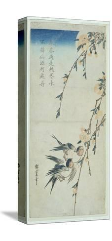 Swallows and Peach Blossom in Moonlight-Ando Hiroshige-Stretched Canvas Print