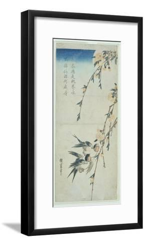 Swallows and Peach Blossom in Moonlight-Ando Hiroshige-Framed Art Print