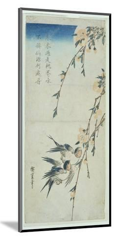 Swallows and Peach Blossom in Moonlight-Ando Hiroshige-Mounted Giclee Print