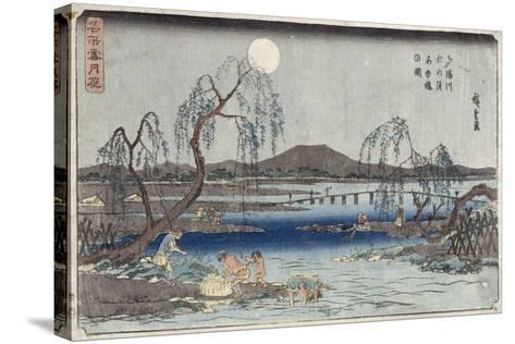 Catching Fish by Moonlight on the Tama River, from a Series 'snow, Moon and Flowers' ('settsu…-Ando Hiroshige-Stretched Canvas Print