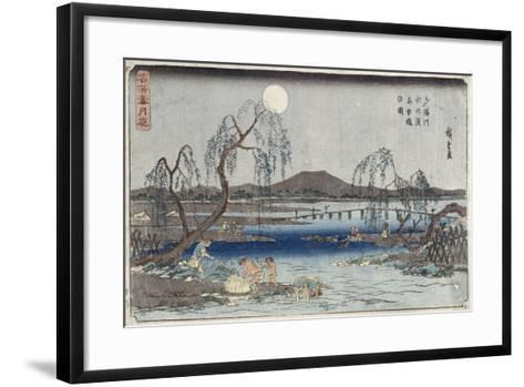 Catching Fish by Moonlight on the Tama River, from a Series 'snow, Moon and Flowers' ('settsu…-Ando Hiroshige-Framed Art Print