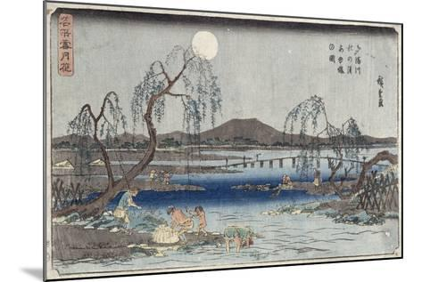 Catching Fish by Moonlight on the Tama River, from a Series 'snow, Moon and Flowers' ('settsu…-Ando Hiroshige-Mounted Giclee Print