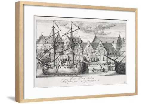 Loading at the Granary Island, from 'Fifty Views of Gdansk', Engraved by Matthaeus Deisch…-or Lormann, Friedrich Anton Lohrmann-Framed Art Print