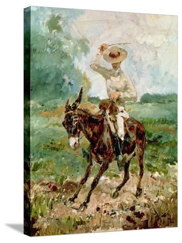Raoul Tapie De Celeyran (1868-1937) on a Donkey-Henri de Toulouse-Lautrec-Stretched Canvas Print