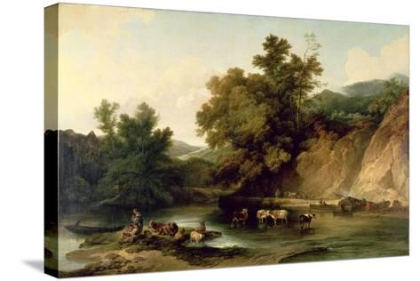 The River Wye at Tintern Abbey, 1805-Philip James De Loutherbourg-Stretched Canvas Print