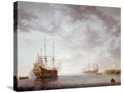 Dutch Men-O-War at Anchor, C.1650-Simon Jacobsz. Vlieger-Stretched Canvas Print