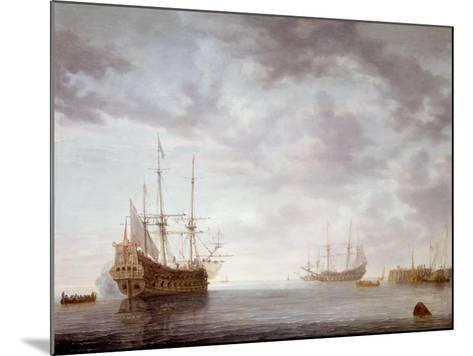 Dutch Men-O-War at Anchor, C.1650-Simon Jacobsz. Vlieger-Mounted Giclee Print