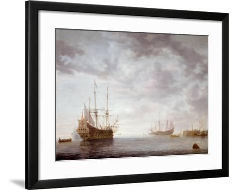 Dutch Men-O-War at Anchor, C.1650-Simon Jacobsz. Vlieger-Framed Art Print