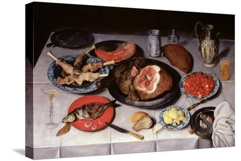 Breakfast Piece with a Fish, Ham and Cherries, 1614-Jacob van Hulsdonck-Stretched Canvas Print