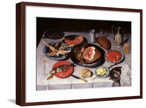 Breakfast Piece with a Fish, Ham and Cherries, 1614-Jacob van Hulsdonck-Framed Art Print