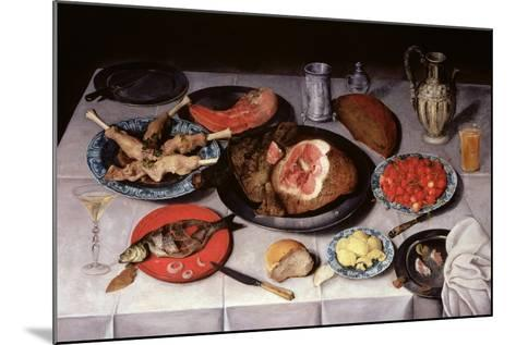 Breakfast Piece with a Fish, Ham and Cherries, 1614-Jacob van Hulsdonck-Mounted Giclee Print