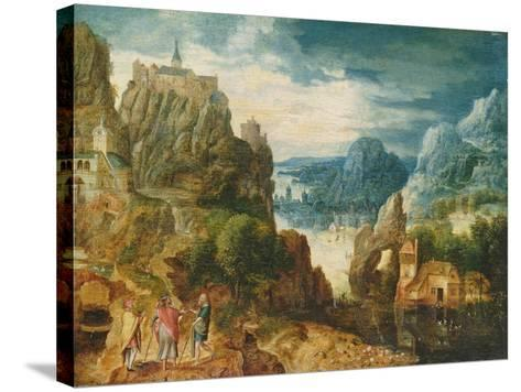 Mountainous Landscape with the Road to Emmaus, 1597-Lucas van Valckenborch-Stretched Canvas Print
