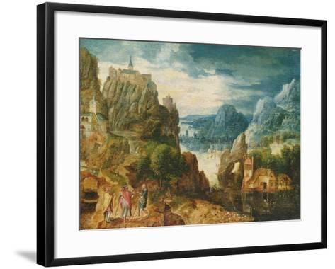 Mountainous Landscape with the Road to Emmaus, 1597-Lucas van Valckenborch-Framed Art Print