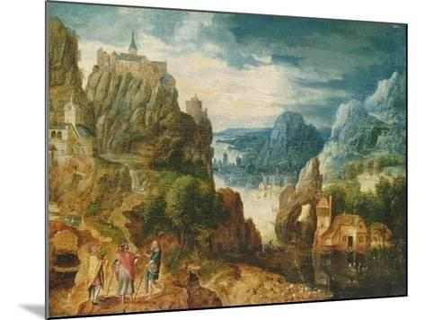 Mountainous Landscape with the Road to Emmaus, 1597-Lucas van Valckenborch-Mounted Giclee Print