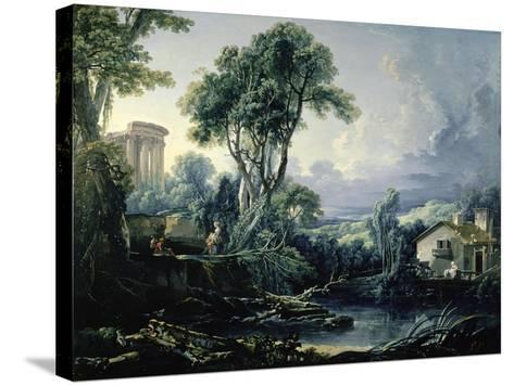 Landscape with Water Mill, 1743-Francois Boucher-Stretched Canvas Print