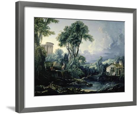Landscape with Water Mill, 1743-Francois Boucher-Framed Art Print