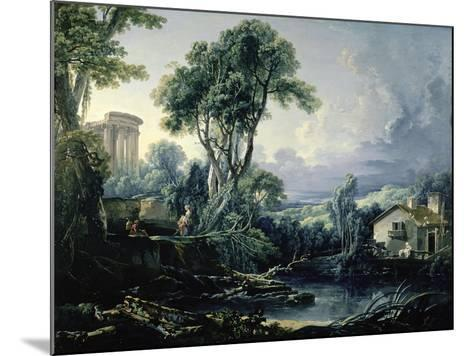 Landscape with Water Mill, 1743-Francois Boucher-Mounted Giclee Print